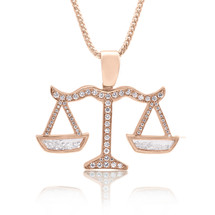 10k Custom Rose Gold 1.75ct Diamond Libra Scale Pendant Front View on Chain