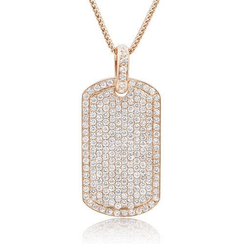 14k rose gold 55ct diamond dog tag pendant shyne jewelers dog tag pendant image 1 aloadofball