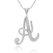 Sterling Silver With White Sapphire Large 'A' Pendant