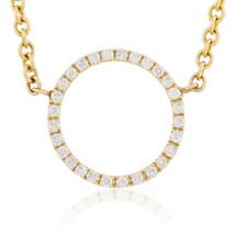 14k Yellow Gold .15ct Diamond Circle Necklace