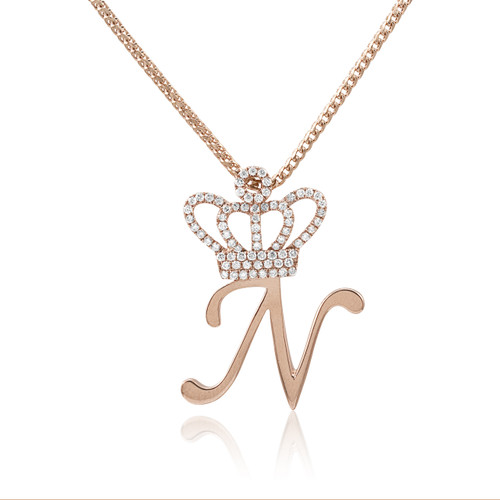 14k rose gold 75ct diamond crown initial pendant shyne jewelers 14k rose gold 75ct diamond crown initial pendant on chain front aloadofball Choice Image