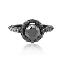 10k Black Gold 3.73ct Black Diamond Ring