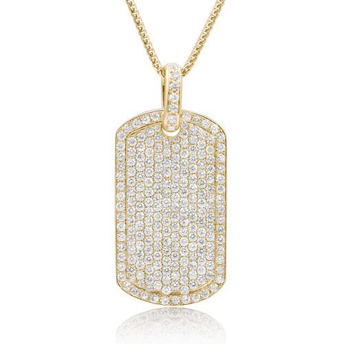 14k yellow gold 55ct diamond dog tag pendant shyne jewelers diamond dog tag pendant image 1 mozeypictures Images