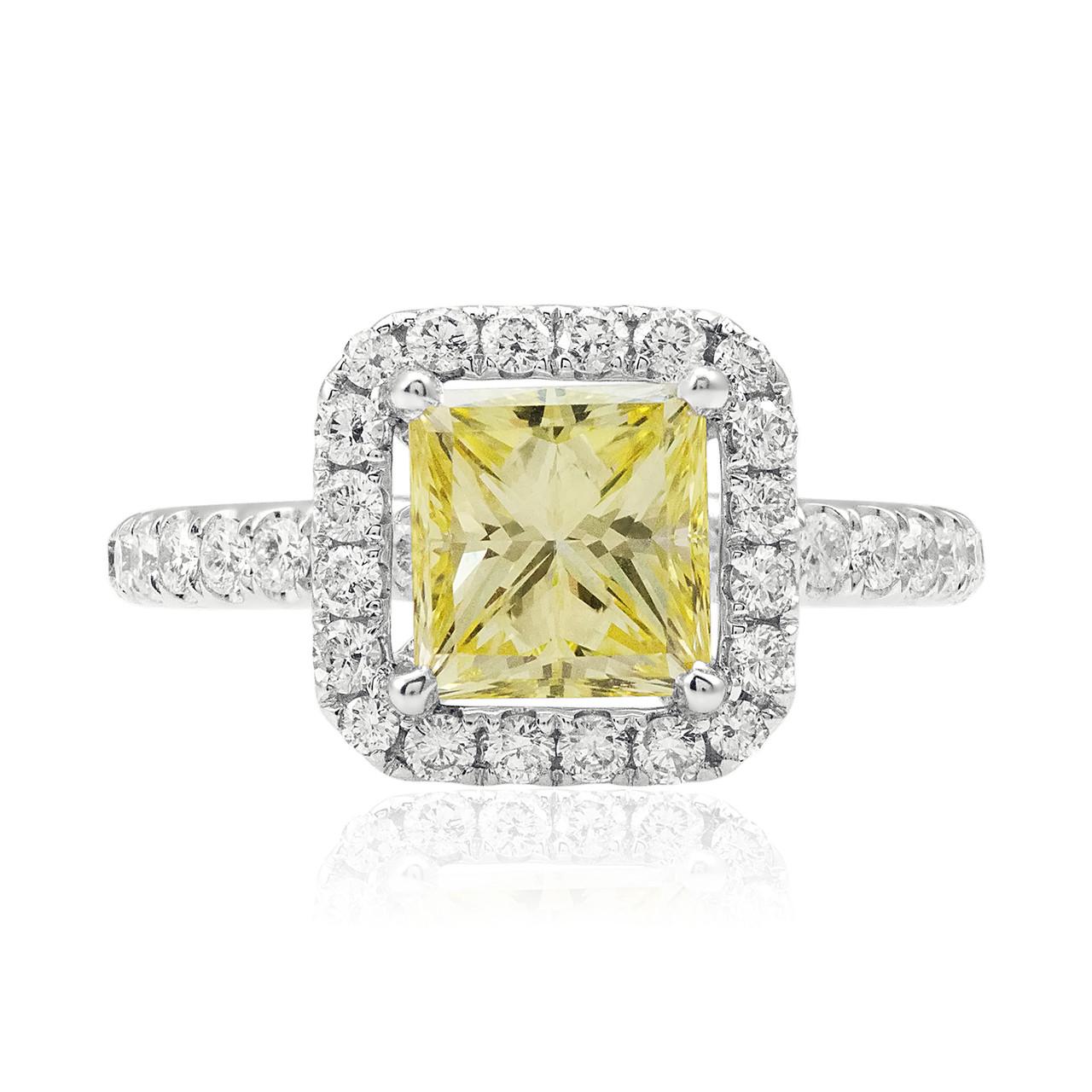 18k White Gold 3 06ct Canary Yellow Princess Cut Diamond