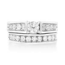 14k White Gold Solitaire Set 3.05ct Diamond Ring