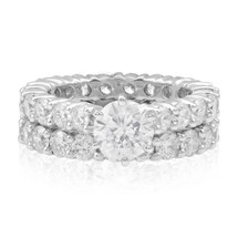14k White Gold 2pc. Eternity Band Set 6ct Diamond Ring