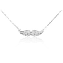 Sterling Silver with White Sapphire Angel Wings Pendant