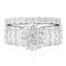 14K White Gold 3.7ct Engagement Ring Set