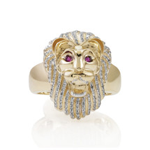 10K Yellow Gold .50ct Diamond Lion Ring
