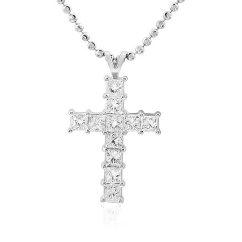 14k white gold 37ct princess cut diamond cross pendant shyne jewelers diamond cross pendant image 1 aloadofball Choice Image