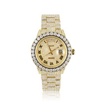 Rolex Day-Date 18k Yellow Gold 30ct Roman Numeral Diamond Watch