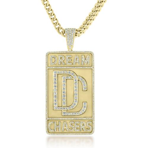 Custom Yellow Gold 3ct Diamond Dream Chaser Pendant