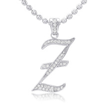 Silver With Sapphire Micro 'Z' Pendant Alphabet Letters