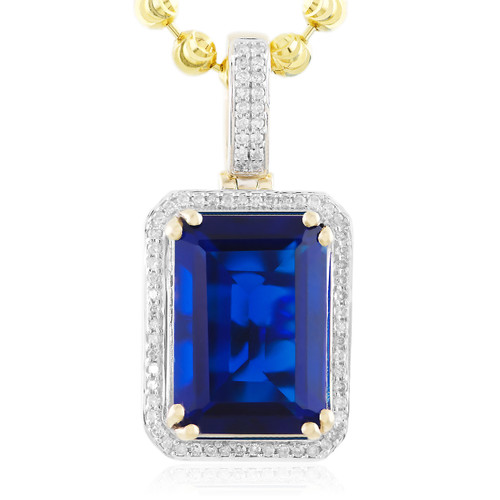 Mens 10k yellow gold 25ct diamond blue sapphire pendant shyne diamond blue sapphire pendant image 1 aloadofball Image collections