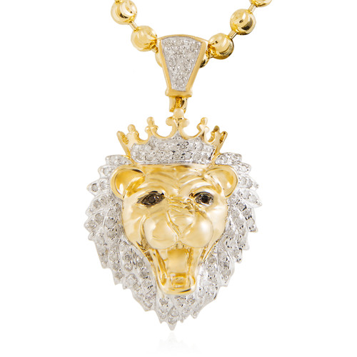 10k yellow gold 36ct lions head pendant shyne jewelers lions head pendant image 1 aloadofball Choice Image