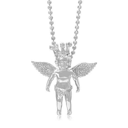 14k white gold 5ct diamond angel pendant shyne jewelers 14k white gold 5ct diamond angel pendant on chain front view aloadofball Image collections