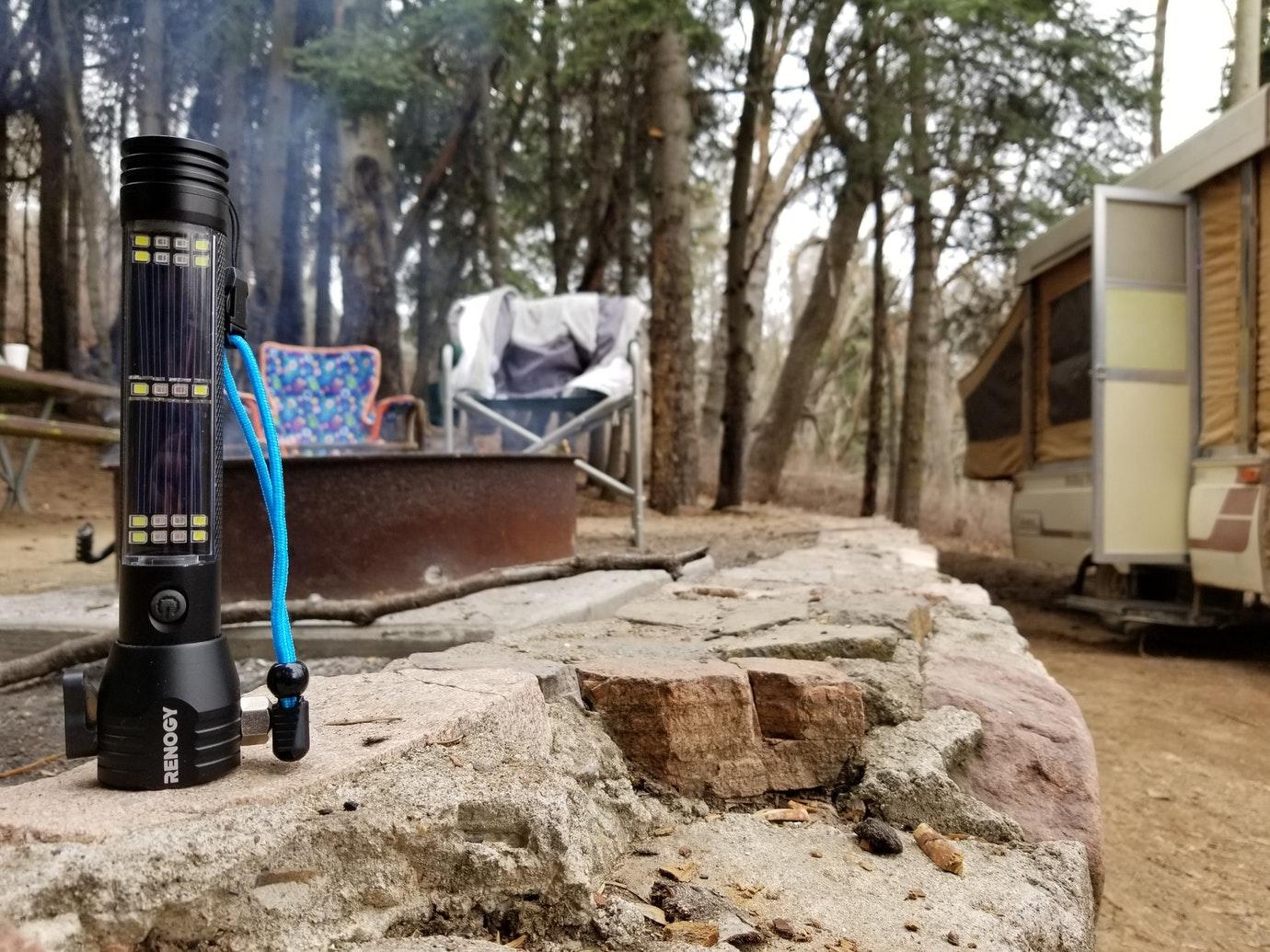 camping solar panels flashlight