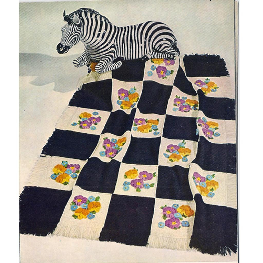 Vintage Pansy Crochet Afghan Pattern