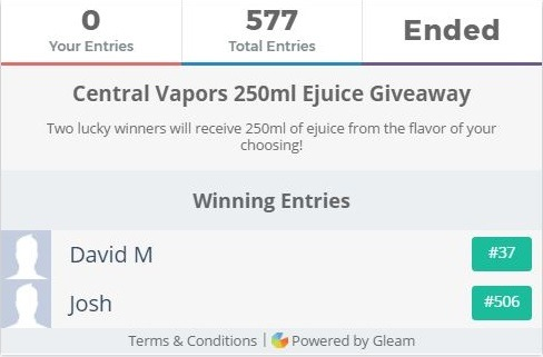 Free e Juice - Vape Giveaway