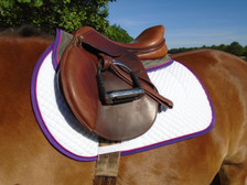 Dark Grey with Purple Trim and Raspberry Piping Horse Memory Foam Half Pad Front View