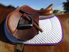 Dark Grey with Purple Trim and Raspberry Piping Horse Memory Foam Half Pad Side View