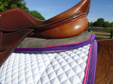 Dark Grey with Purple Trim and Raspberry Piping Horse Memory Foam Half Pad Back View