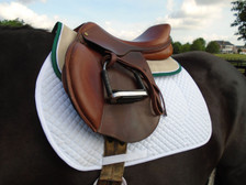 Tan with Hunter Green Trim and White Piping Horse Memory Foam Half Pad Front View