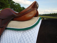 Tan with Hunter Green Trim and White Piping Horse Memory Foam Half Pad Back View