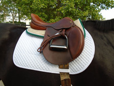 Tan with Hunter Green Trim and White Piping Horse Memory Foam Half Pad Right Side