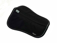 Black with Black Trim and Silver Piping Horse Memory Foam Half Pad Front View with Embroidery