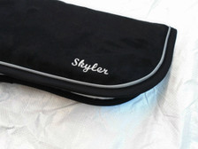 Black with Black Trim and Silver Piping Horse Memory Foam Half Pad Close Up with Embroidery