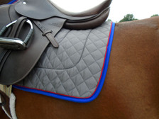 Charcoal with Royal Blue Trim and Red Piping Horse Saddle Pad Back View