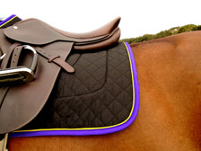 Black with Purple Trim and Yellow Piping Horse Saddle Pad Back View