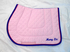 Pink Embroidered Saddle Pad with Purple Trim and Raspberry Piping Side View