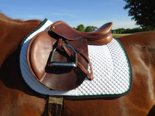 Horse Schooling Pad with Black Trim and Kelly Green Piping Side View