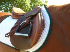 Horse Schooling Pad with Black Trim and Kelly Green Piping Right Side