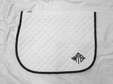 White with White Trim Horse Baby Pad with Monogram Front View