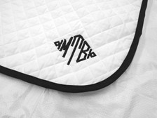 White with White Trim Horse Baby Pad with Monogram Close Up