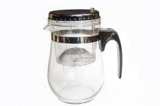 500ml Easy Push Button Strainer Tea Pot (ROUND)