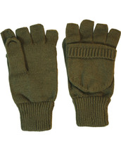 Fingerless Shooters Mitts Gloves in olive green