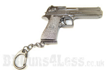 Pistol gun Keyring in solid metal