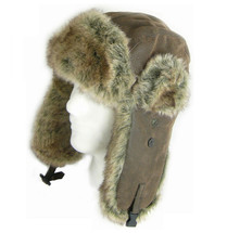Army Trapper Hat Aviator Faux Leather & Fur Ear Flaps
