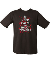 Kombat Keep Calm and shoot Zombies T Shirt in black