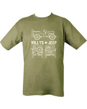 Kombat Willy's Jeep army T shirt in Green