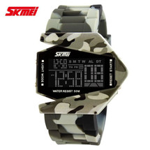 Army Military Fighter Style Digital LED Display Watch in Gray Camo
