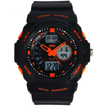 Strong Sports Light LED Display Watch in Black Strap with Orange- DG0955