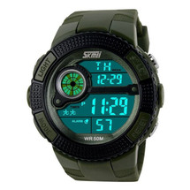 Sports Light LED Display Watch in Green Strap - DG1027