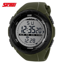 Sports LED Display Watch in Rubber Green Strap - DG1025