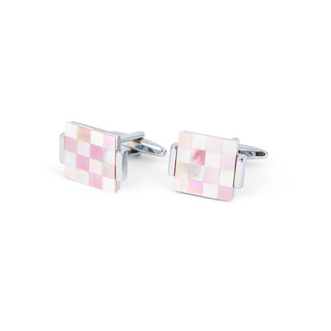 Pink and White Check Shell Cufflinks - main view - University graduation gift