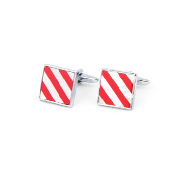 Red and White Striped Shell Cufflinks - main view - University graduation gift